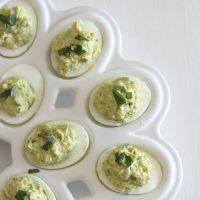 Garlic Pesto Deviled Eggs