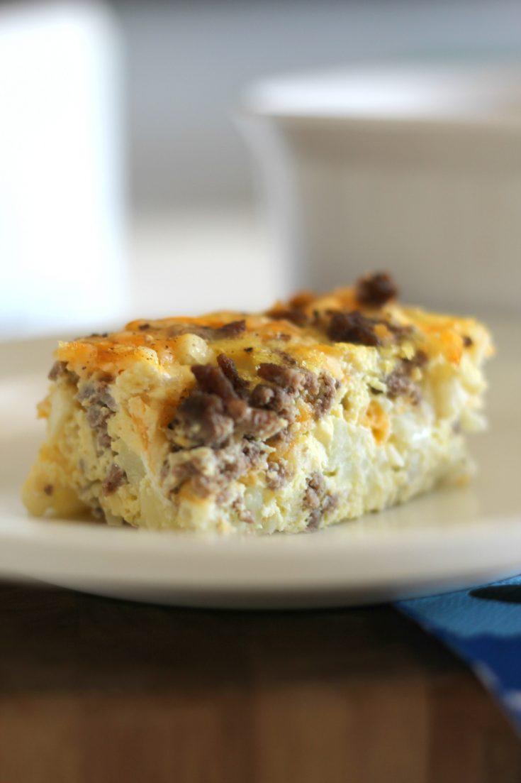 Cauliflower Cheeseburger Egg Bake