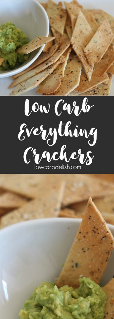 Low carb everything crackers, made with almond flour and seasoned with Everything But The Bagel Seasoning.