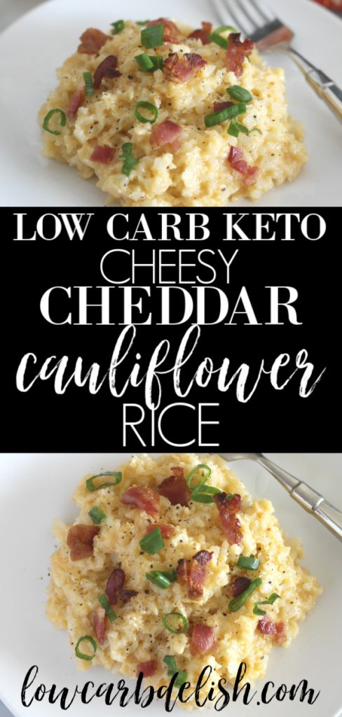 Cheesy Cheddar Cauliflower Rice is going to be a dinnertime classic! Totally low carb and keto, it's a perfect side dish. #ketorecipes #lowcarbdinner #lowcarbdelish #cauliflowerrice