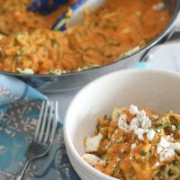 Zucchini Noodles with Roasted Bell Pepper Feta Sauce