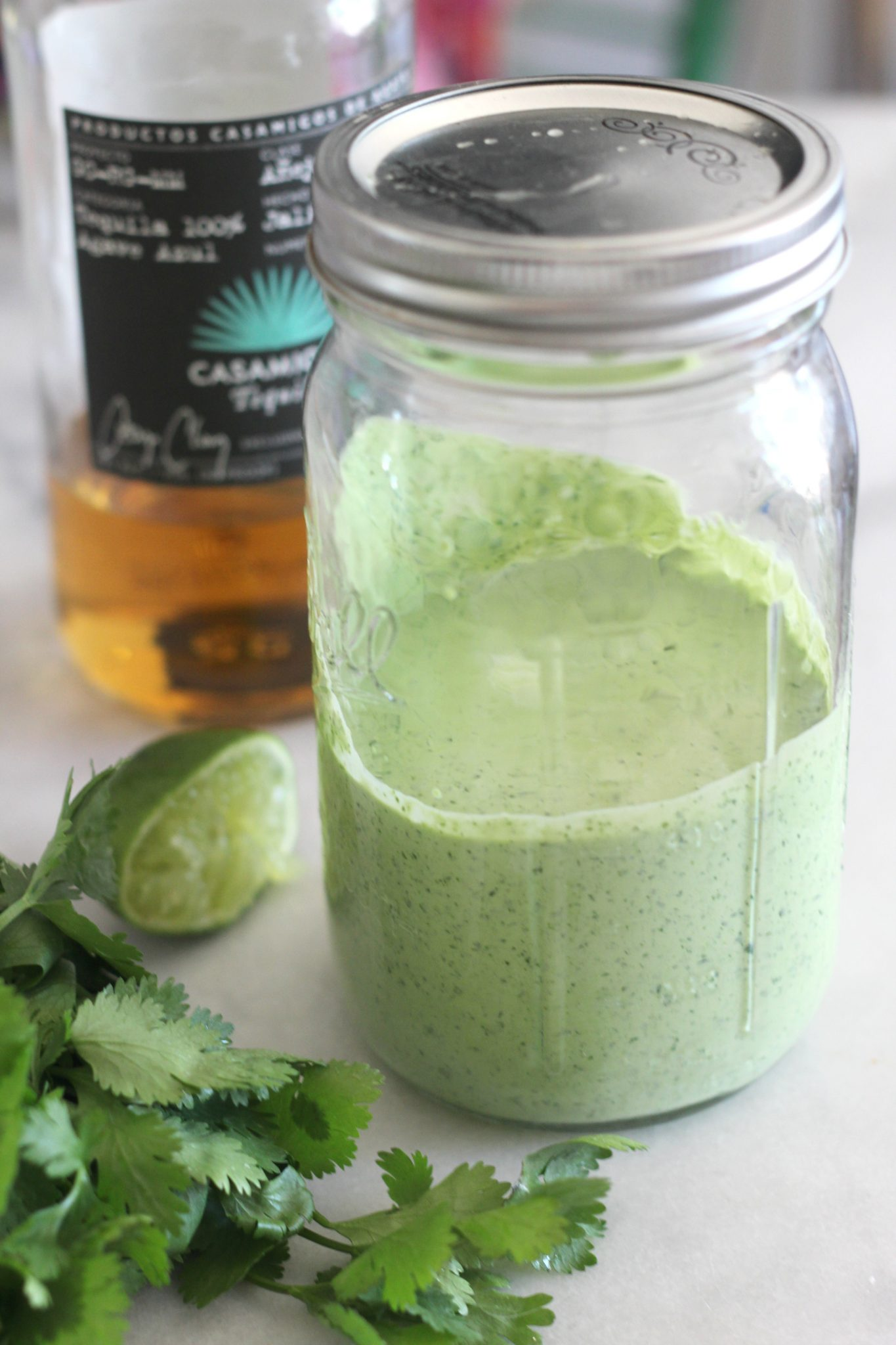 Add a little southwest to your salads with this creamy tequila, cilantro and lime salad dressing recipe!