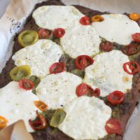 Low Carb Mozzarella Pesto Flatbread