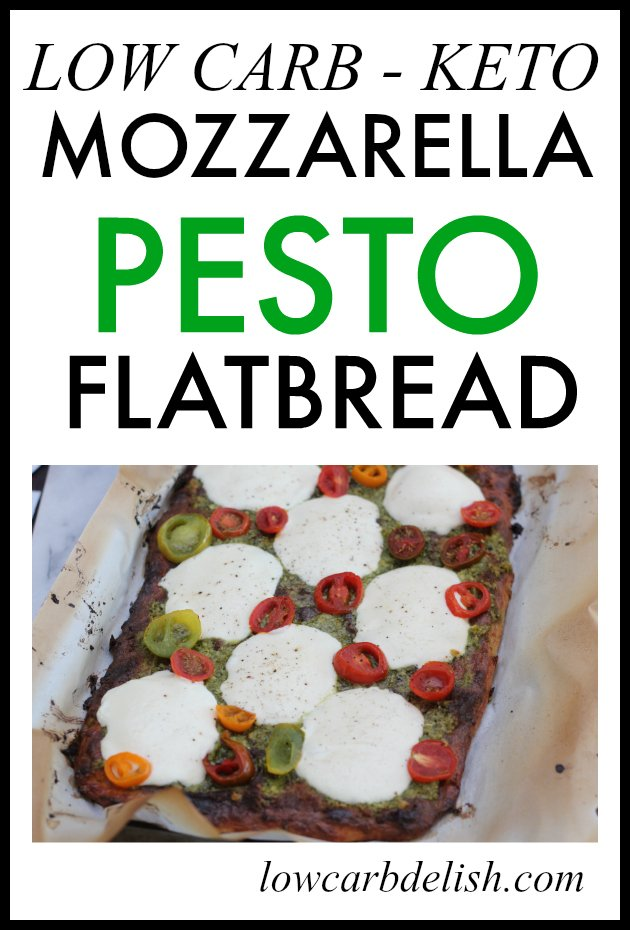 This delicious, low carb mozzarella pesto flatbread tastes so good, you won't even know it's low carb! It's perfect for keto too!