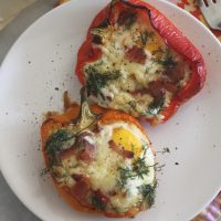 Aged White Cheddar, Bacon and Bell Pepper Egg Boats