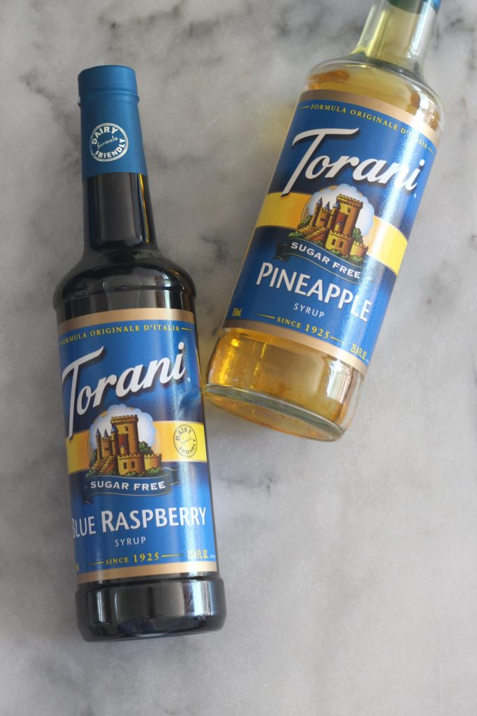 Torani Sugar Free Pineapple and Blue Raspberry Syrups