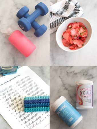 Collage of supplements, weights, water bottle, pickled radishes, and a printable water tracker