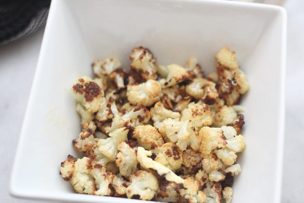 roasted cauliflower popcorn snack lowcarb keto recipe