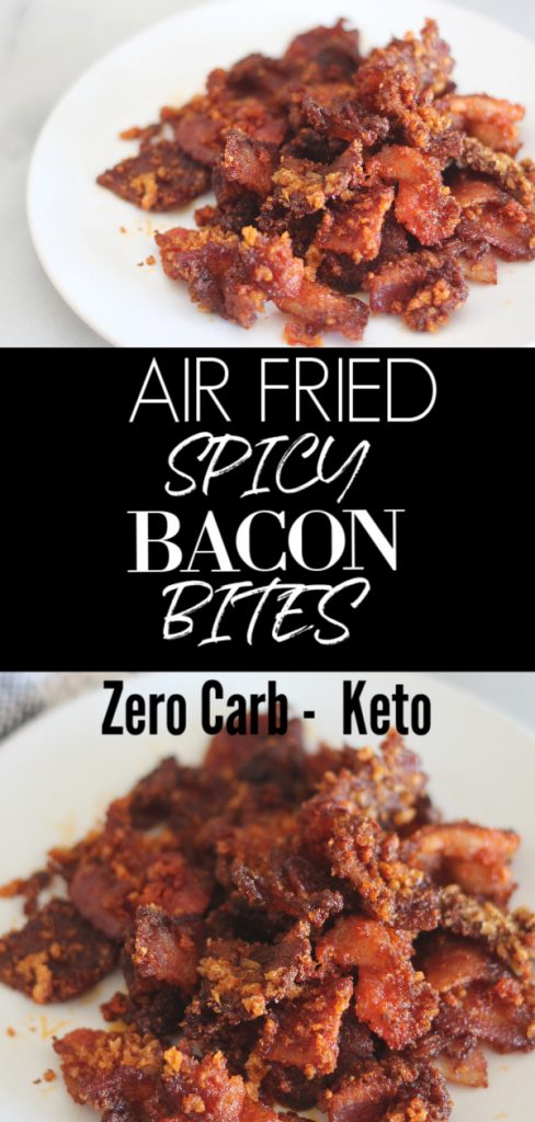 These air fried spicy bacon bites are a perfect, crispy and salty snack. They are great for keto diets and contain zero carbs! #lowcarb #keto #ketosnacks #zerocarb #bacon