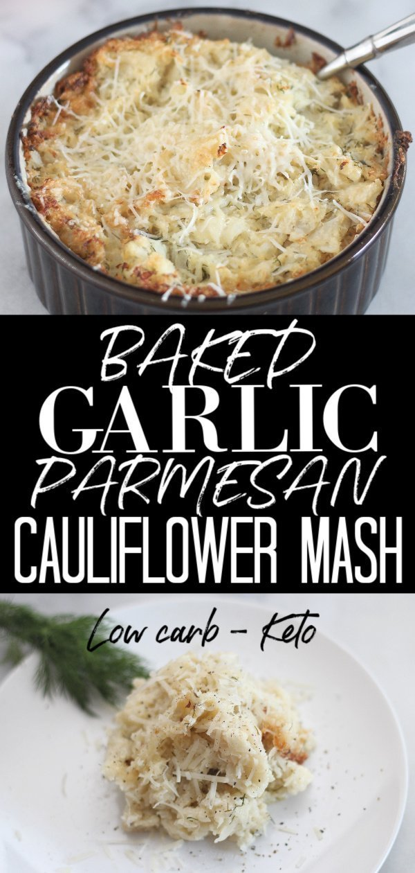 This low carb Baked Garlic Parmesan Cauliflower Mash is the perfect side dish. Full of flavor, this recipe makes a fantastic substitute for mashed potatoes. #lowcarbside #Lowcarbthanksgiving #ketorecipe #ketothankgsiving #thankgsivingside