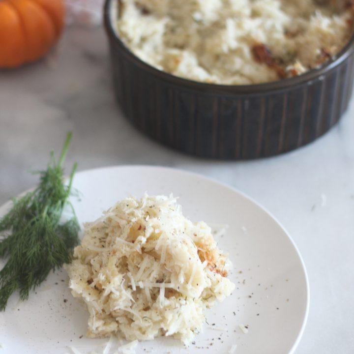 Baked Garlic Parmesan Cauliflower Mash