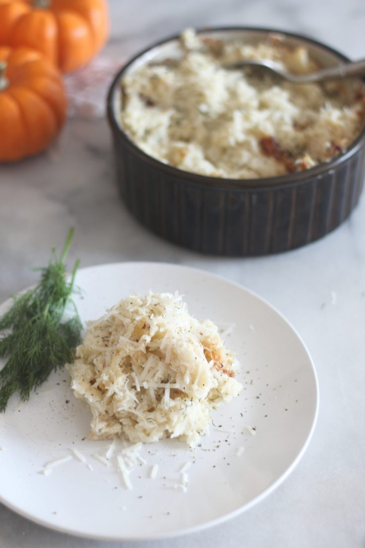 Baked Garlic Parmesan Cauliflower Mash