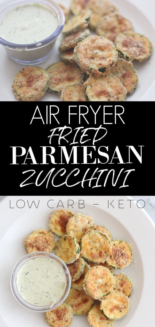 Air fryer fried parmesan zucchini. Fun appetizer and fun to make! #lowcarb #keto #ketoairfryer #friedzucchini