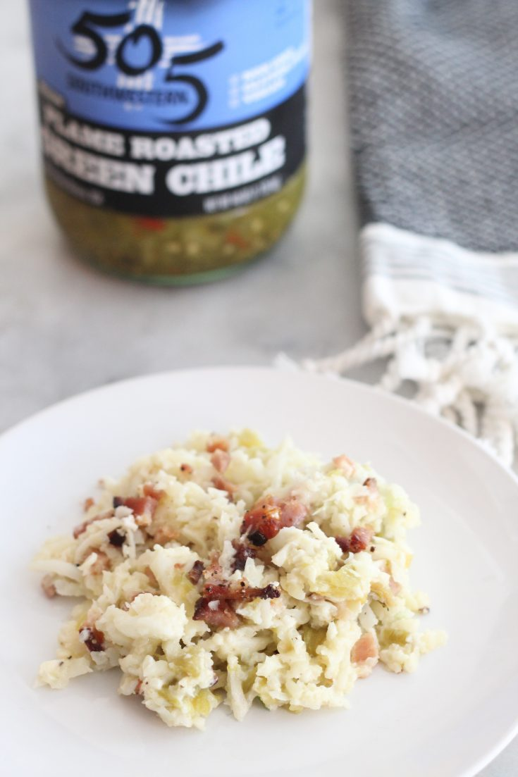 Low Carb Green Chile and Bacon Cauliflower Rice