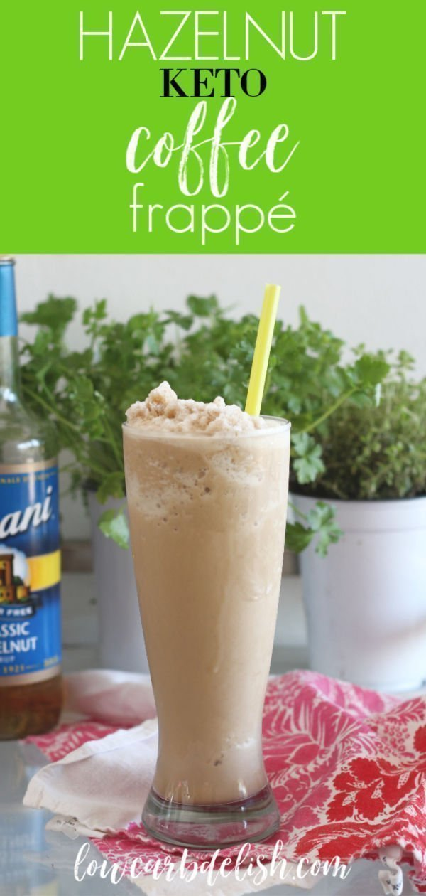 This delicious Hazelnut Keto Coffee Frappé is sugar-free and dairy-free and a perfect summer replacement for your hot bulletproof coffee. #lowcarbdelish #ketocoffee #bulletproofcoffee #buttercoffee #ketorecipes #ketocoffee