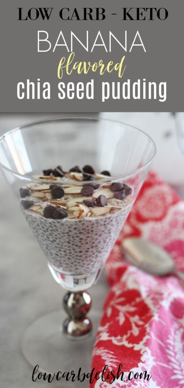 Lightly sweetened and full of fiber, this keto banana flavored chia pudding is a creamy and filling snack. Plus, it's only 1 net carb per serving! #lowcarbdelish #ketodesserts #ketochiapudding #bananapudding #lowcarbdessert #ketosnacks