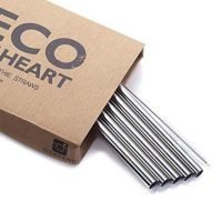 Eco at Heart Wide Stainless Steel Drinking Straw (8.5in Length 0.37in Diameter)