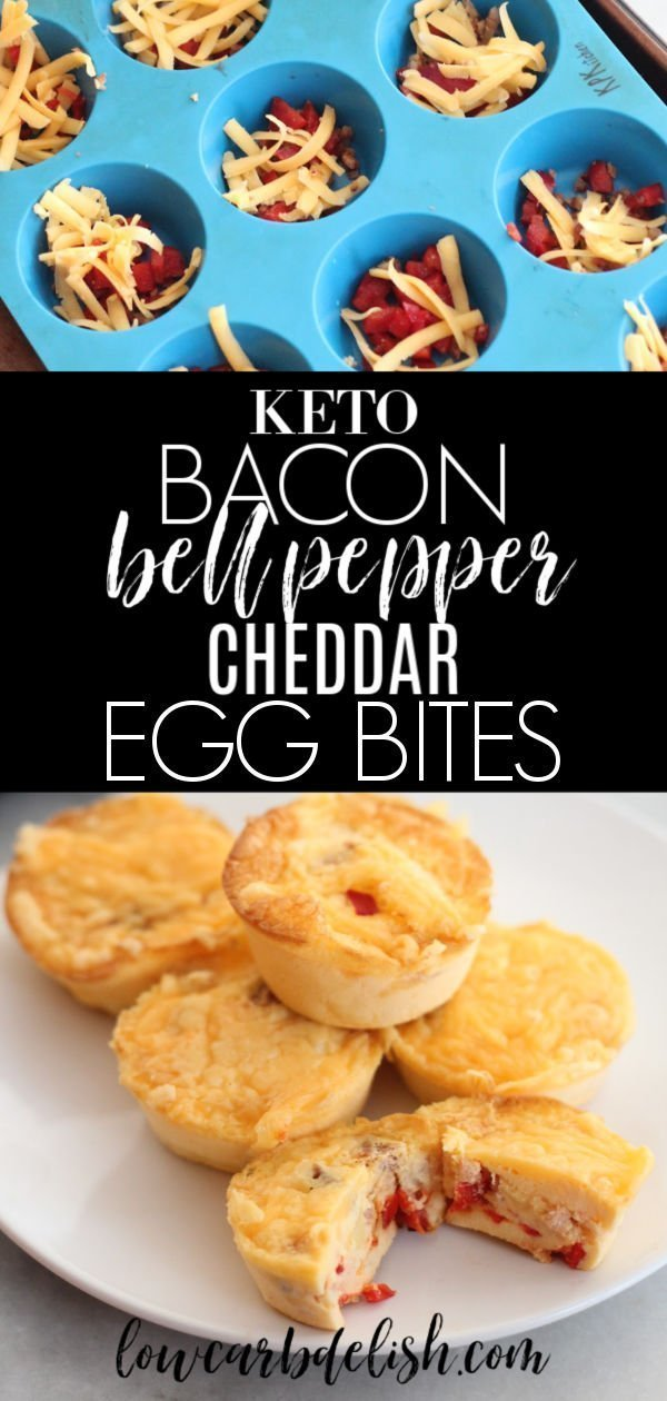 These keto bacon, bell pepper and cheddar eggs bites are great for breakfast or a post workout snack. Only one carb per egg bite! #lowcarbdelish #eggbites #ketomealprep #ketobreakfast #ketorecipes