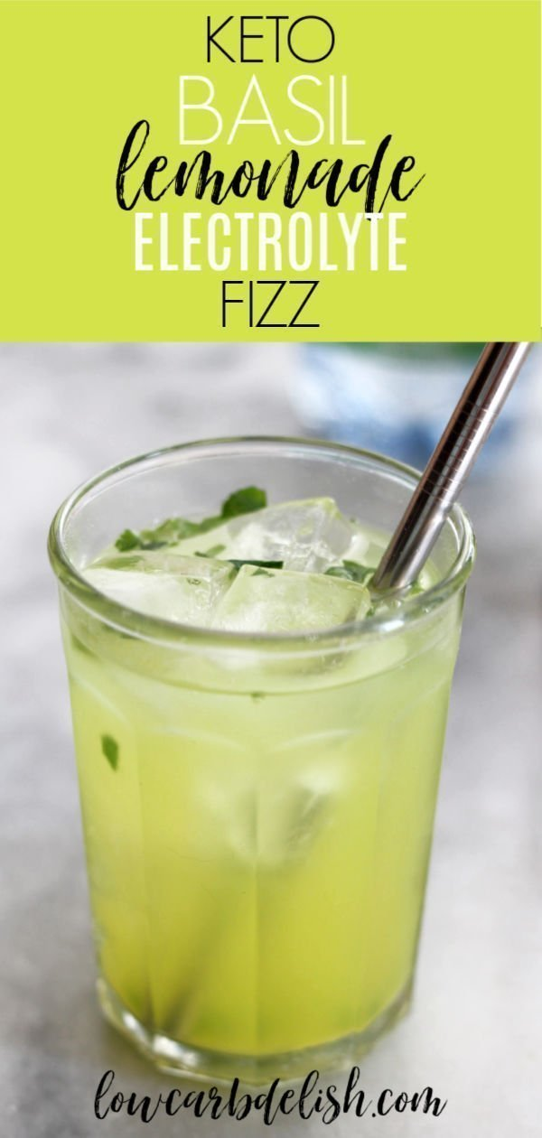 This basil lemonade electrolyte fizz recipe will add some fun and flavor to the electrolytes needed when eating keto. All for zero carbs and calories too! #lowcarbdelish #ketodrinks #ketoelectrolytes #lowcarbbeverages #electrolytedrink