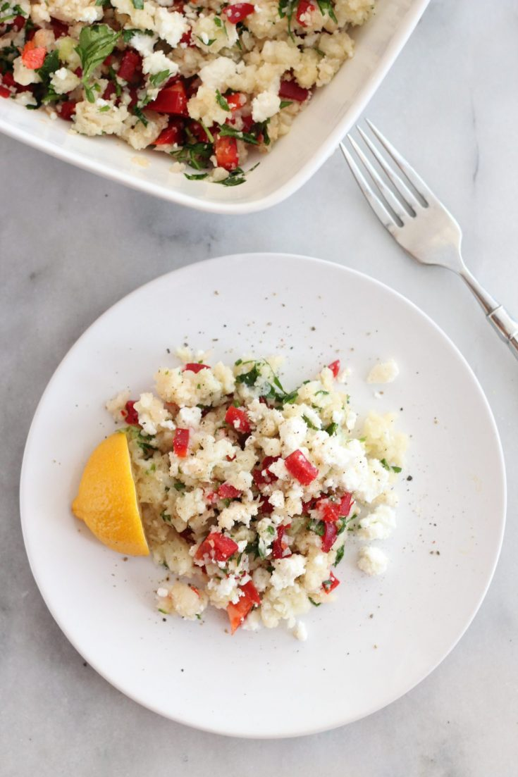 Keto Cauliflower Rice, Bell Pepper, Parsley and Feta Salad