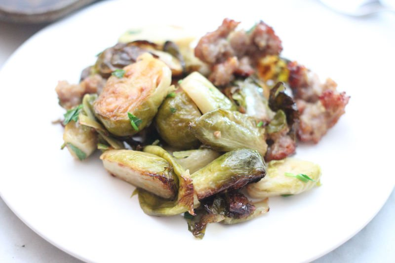 Roasted Brussels sprouts and sausage is a great keto side dish or meal. It is easy to make on a sheet pan and great for a weeknight dinner.