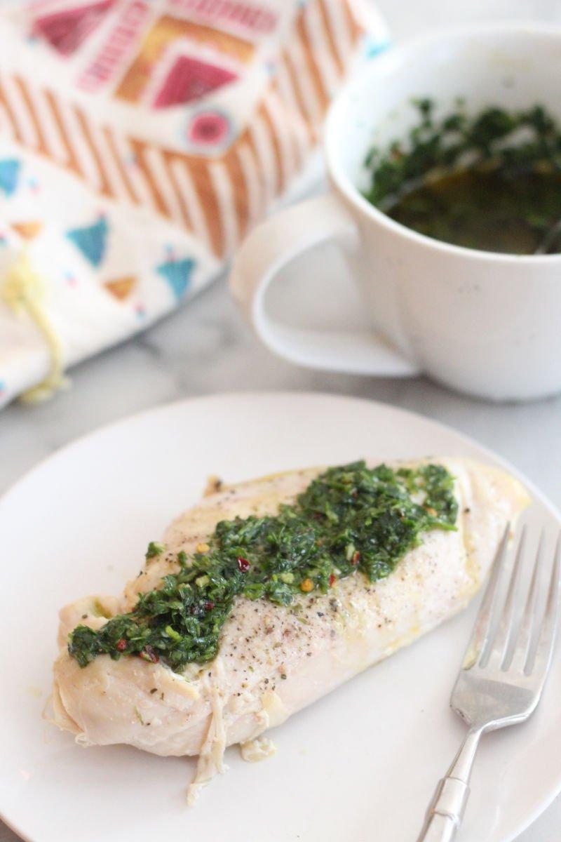chimichurri sauce on chicken breast