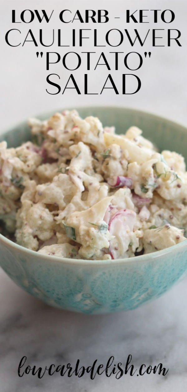 "Swap lightly roasted cauliflower for the potatoes makes the base for this delicious keto cauliflower ""potato"" salad. #lowcarbdelish #ketorecipes #ketobbq #ketopotatosalad #ketocauliflower #barbeque #ketosalad"