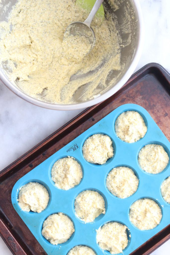 These flavorful keto poppy seed muffins are perfect for your next brunch! Under two net carbs a piece, they are super moist and easy to make. Flavor with lemon or almond to truly make them special! #lowcarbdelish #ketobrunch #ketorecipes #lupinflour #alluloserecipes #ketomuffins #lowcarbrecipes