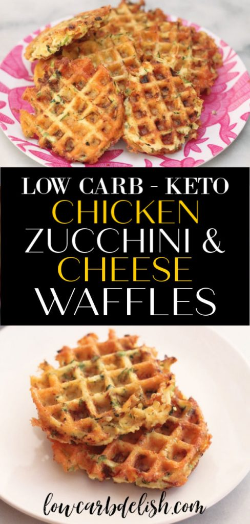 This recipe for chicken, zucchini and cheese waffles is great for meal prepping and a tasty, keto alternative to traditional waffles. #lowcarbdelish #ketorecipes #ketowaffles #savorywaffles #chicken #ketodinnet #ketotogo