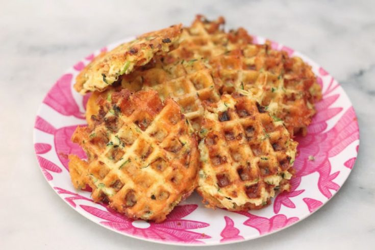 Savory Keto Chicken, Zucchini and Cheese Waffles