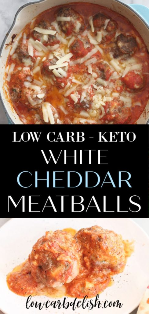 Make these keto white cheddar meatballs for dinner or for a delicious game day snack! Cheesy and meaty and oh so yummy! #lowcarbdelish #ketorecipes #keto #lowcarb #meatballs