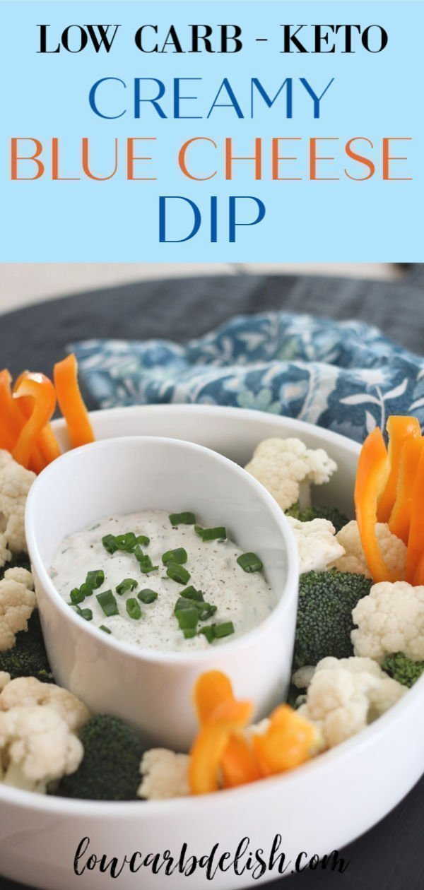 Homemade dips are always better than the packaged stuff. So delight your tastebuds with this Creamy Blue Cheese Dip! It's easy to make, low carb and keto and goes perfect with veggies and chicken wings. Perfect for game day, a party or just because you love it! #lowcarbdelish #gameday #ketorecipes #ketosnacks