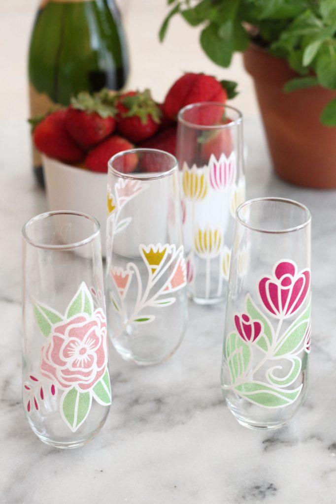DIY Floral Champagne Flutes