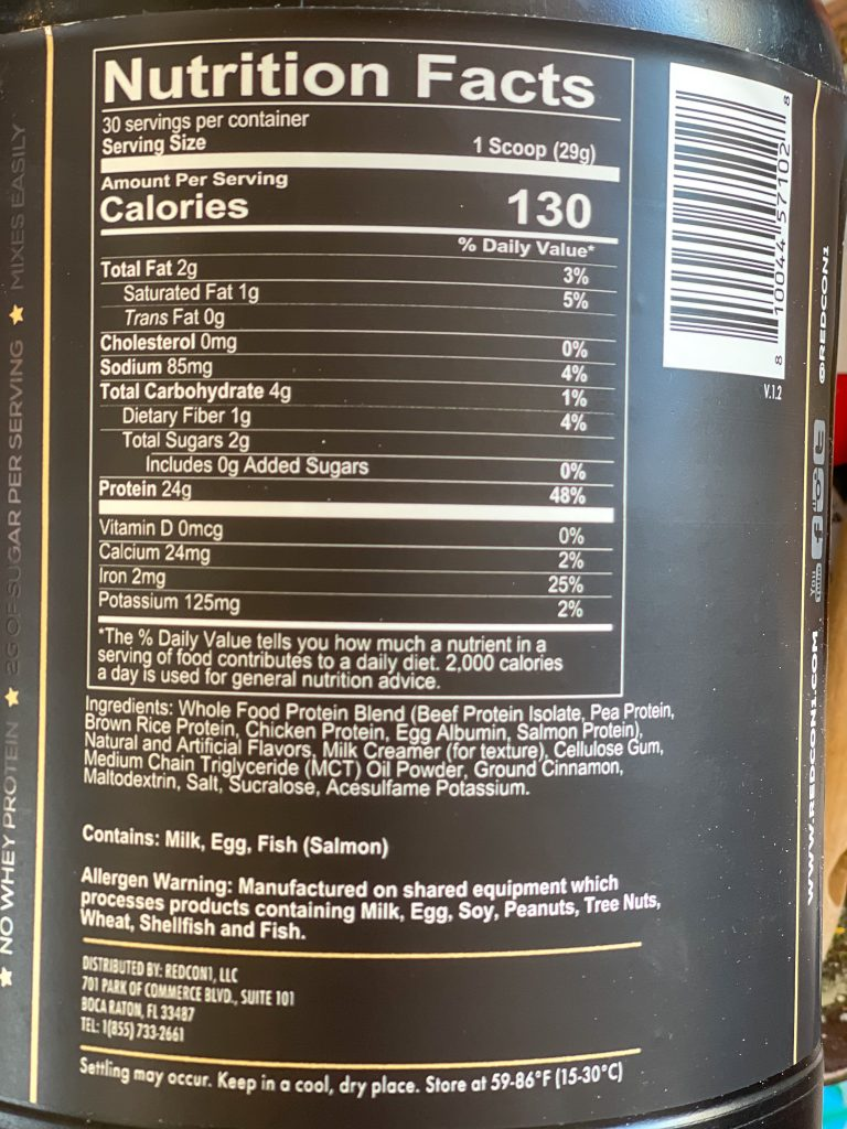Image of the ingredients and nutrition information on the MRE lite container.